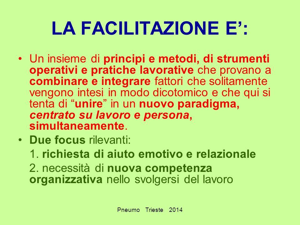 Pneumo Trieste 2014 LA FACILITAZIONE E': Un insieme di principi e metodi, di strumenti operativi e pratiche lavorative che provano a combinare e integ