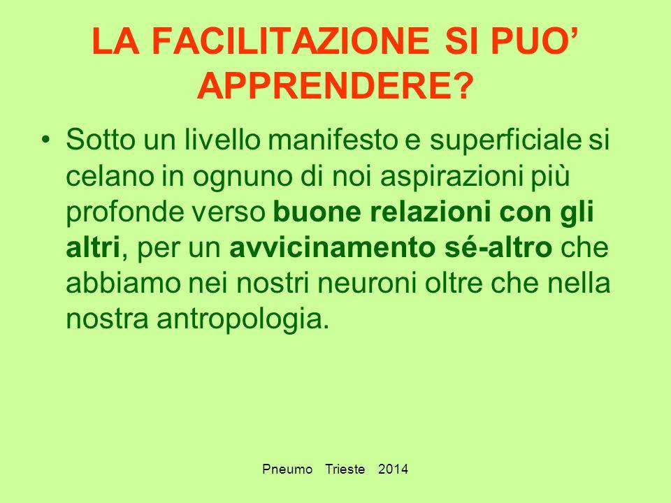 Pneumo Trieste 2014 LA FACILITAZIONE SI PUO' APPRENDERE? Sotto un livello manifesto e superficiale si celano in ognuno di noi aspirazioni più profonde