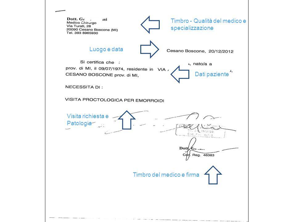 Timbro - Qualità del medico e specializzazione Luogo e data Dati paziente Visita richiesta e Patologia Timbro del medico e firma