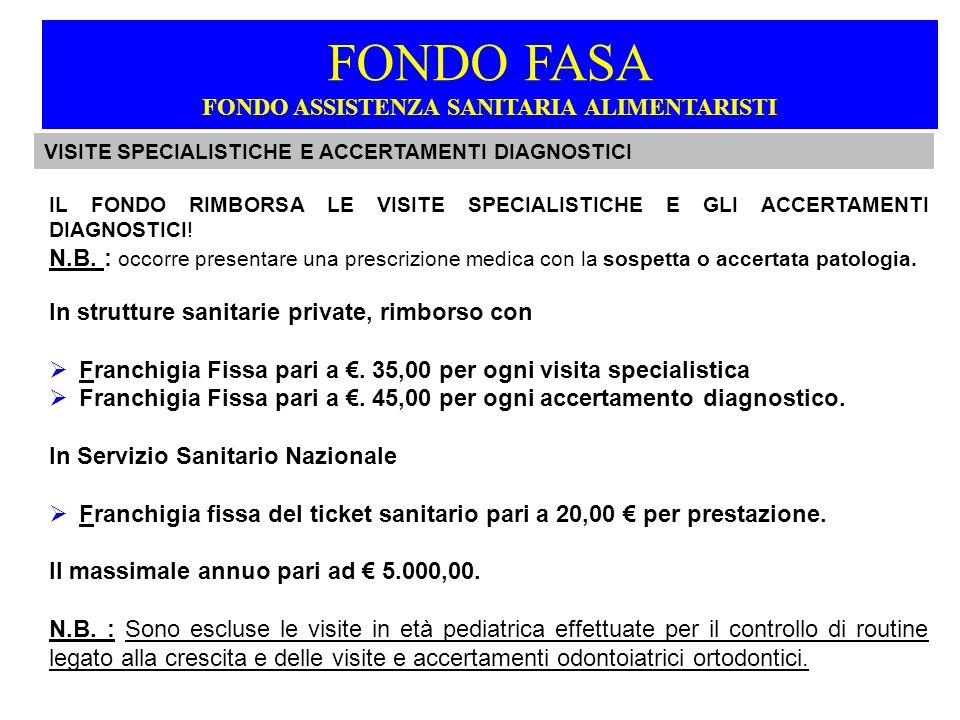 IL FONDO RIMBORSA LE VISITE SPECIALISTICHE E GLI ACCERTAMENTI DIAGNOSTICI.