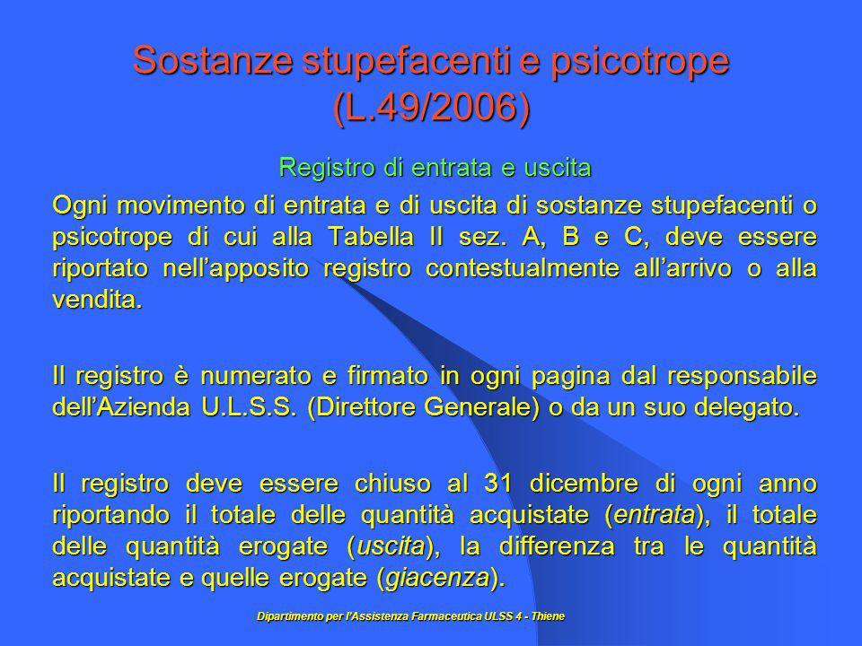 Sostanze stupefacenti e psicotrope (L.49/2006) Registro di entrata e uscita Ogni movimento di entrata e di uscita di sostanze stupefacenti o psicotrope di cui alla Tabella II sez.