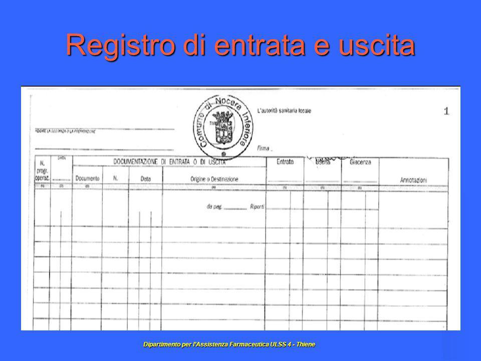 Registro di entrata e uscita Dipartimentoper l'Assistenza Farmaceutica ULSS 4 - Thiene Dipartimento per l'Assistenza Farmaceutica ULSS 4 - Thiene