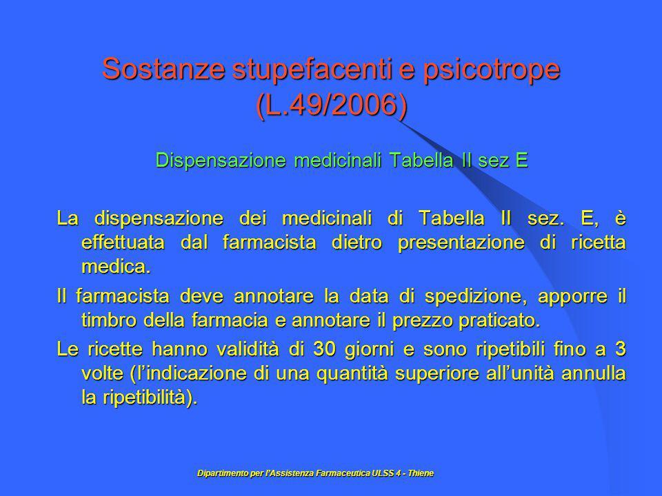 Sostanze stupefacenti e psicotrope (L.49/2006) Dispensazione medicinali Tabella II sez E La dispensazione dei medicinali di Tabella II sez.