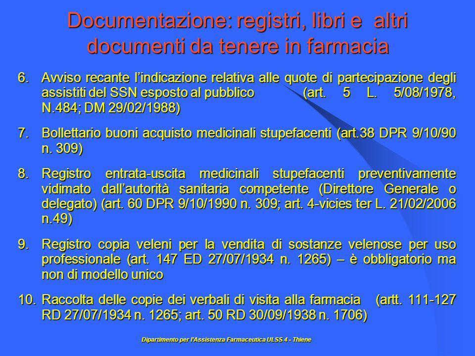 Documentazione: registri, libri e altri documenti da tenere in farmacia 6.Avviso recante l'indicazione relativa alle quote di partecipazione degli assistiti del SSN esposto al pubblico (art.