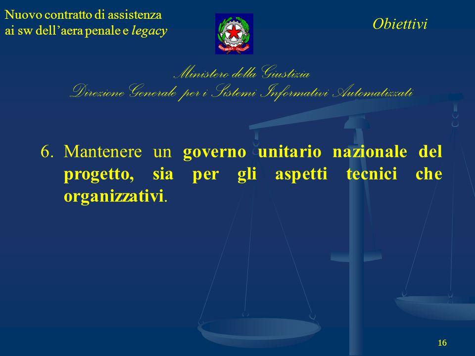 Nuovo contratto di assistenza ai sw dell'aera penale e legacy 16 6.Mantenere un governo unitario nazionale del progetto, sia per gli aspetti tecnici che organizzativi.