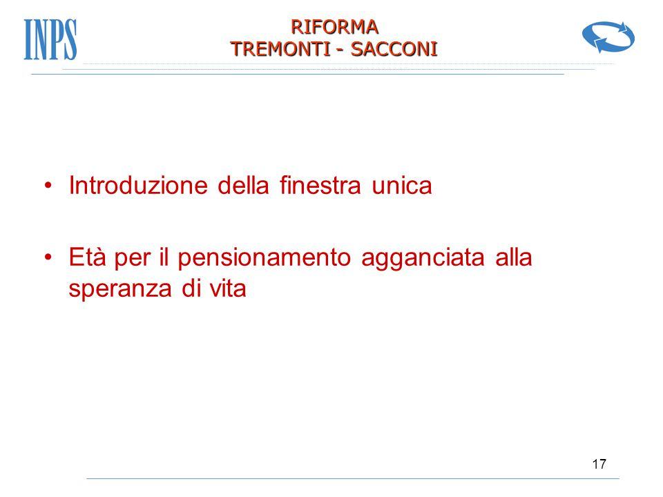 17 RIFORMA TREMONTI - SACCONI Introduzione della finestra unica Età per il pensionamento agganciata alla speranza di vita