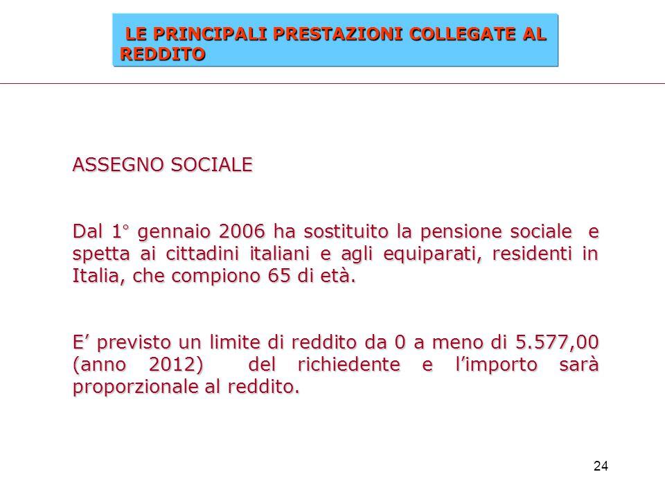 24 ASSEGNO SOCIALE Dal 1° gennaio 2006 ha sostituito la pensione sociale e spetta ai cittadini italiani e agli equiparati, residenti in Italia, che co