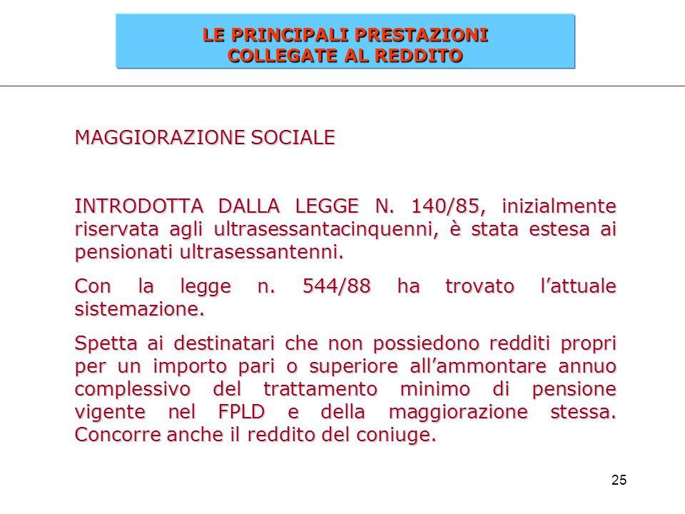 25 MAGGIORAZIONE SOCIALE INTRODOTTA DALLA LEGGE N. 140/85, inizialmente riservata agli ultrasessantacinquenni, è stata estesa ai pensionati ultrasessa