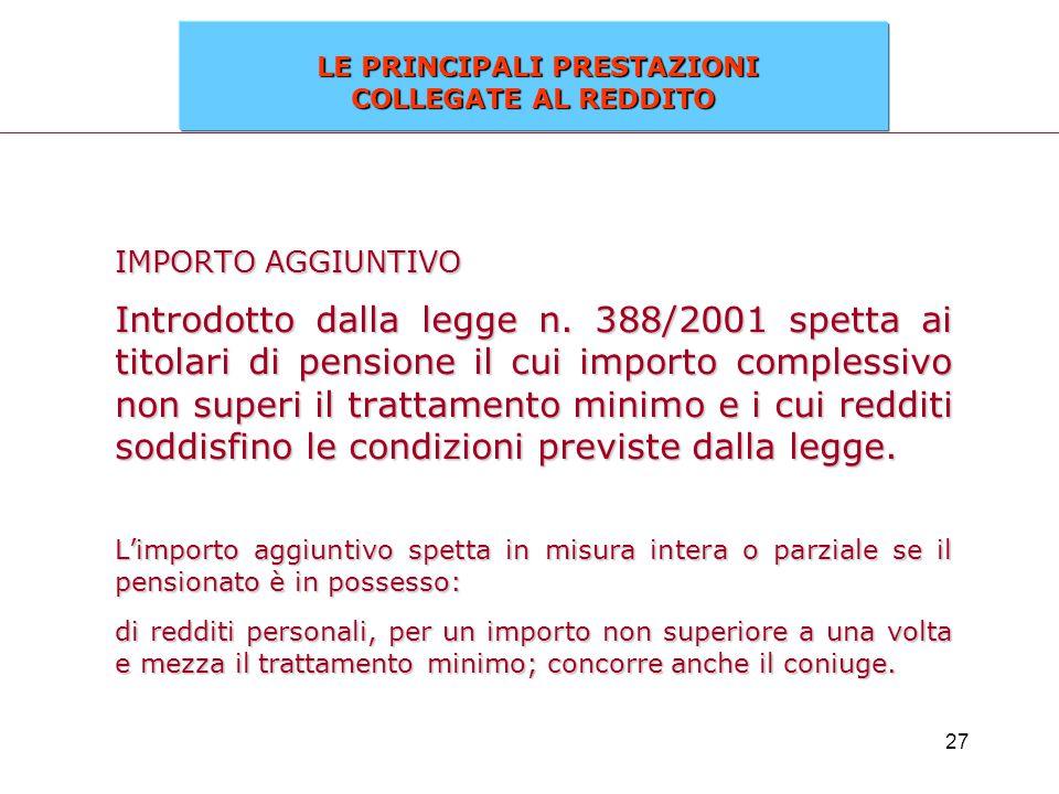27 IMPORTO AGGIUNTIVO Introdotto dalla legge n. 388/2001 spetta ai titolari di pensione il cui importo complessivo non superi il trattamento minimo e