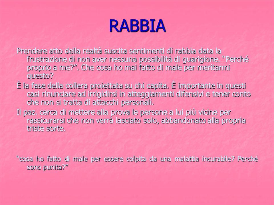 """RABBIA Prendere atto della realtà suscita sentimenti di rabbia data la frustrazione di non aver nessuna possibilità di guarigione. """"Perché proprio a m"""