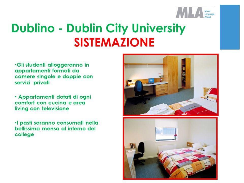 Dublino - Dublin City University SISTEMAZIONE Gli studenti alloggeranno in appartamenti formati da camere singole e doppie con servizi privati Apparta