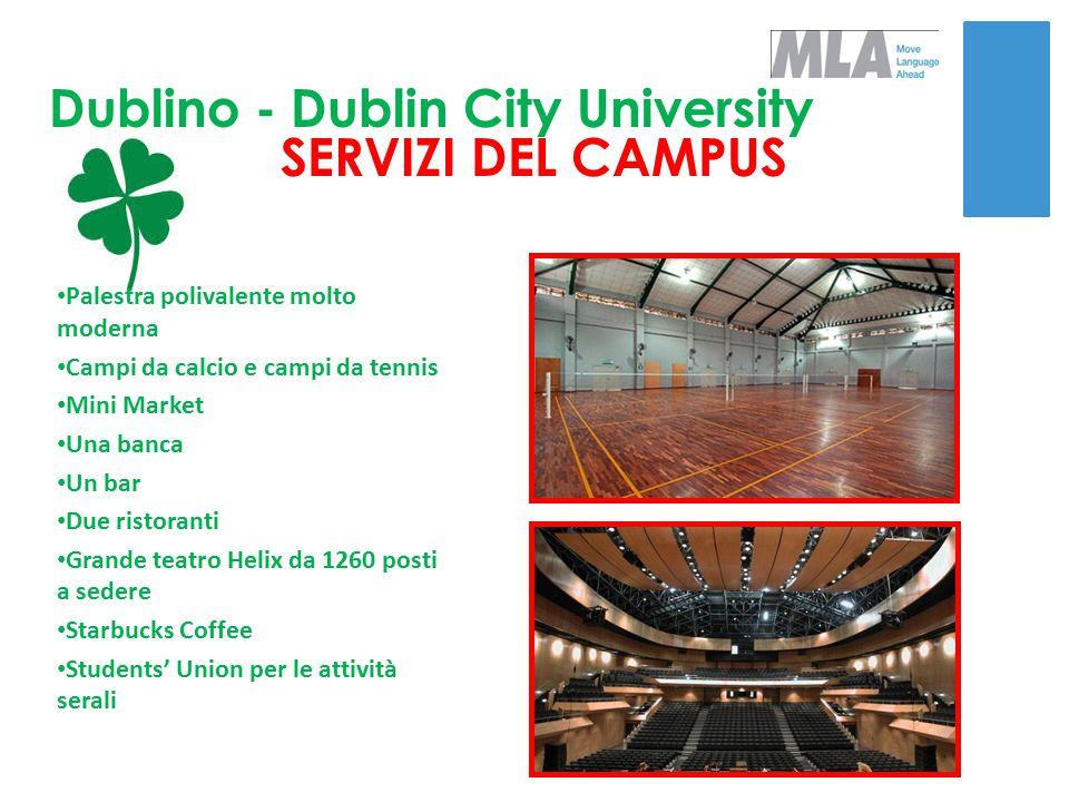 Dublino - Dublin City University SERVIZI DEL CAMPUS Palestra polivalente molto moderna Campi da calcio e campi da tennis Mini Market Una banca Un bar