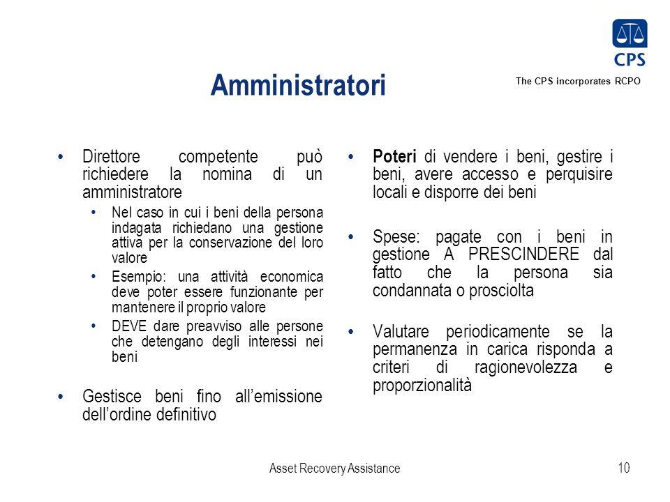 The CPS incorporates RCPO Amministratori Direttore competente può richiedere la nomina di un amministratore Nel caso in cui i beni della persona indag