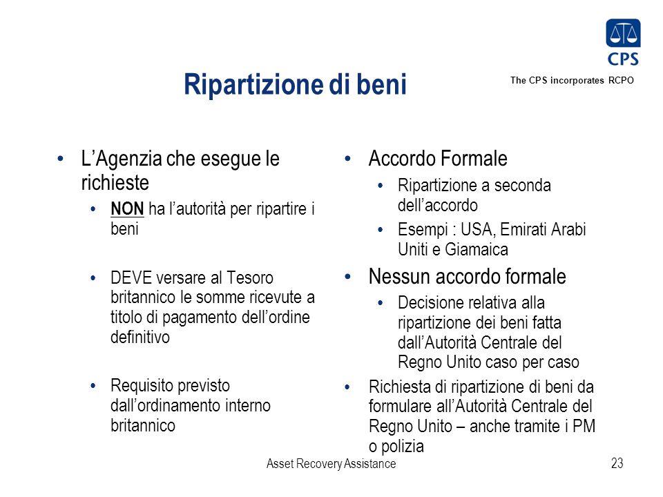 The CPS incorporates RCPO Ripartizione di beni L'Agenzia che esegue le richieste NON ha l'autorità per ripartire i beni DEVE versare al Tesoro britann