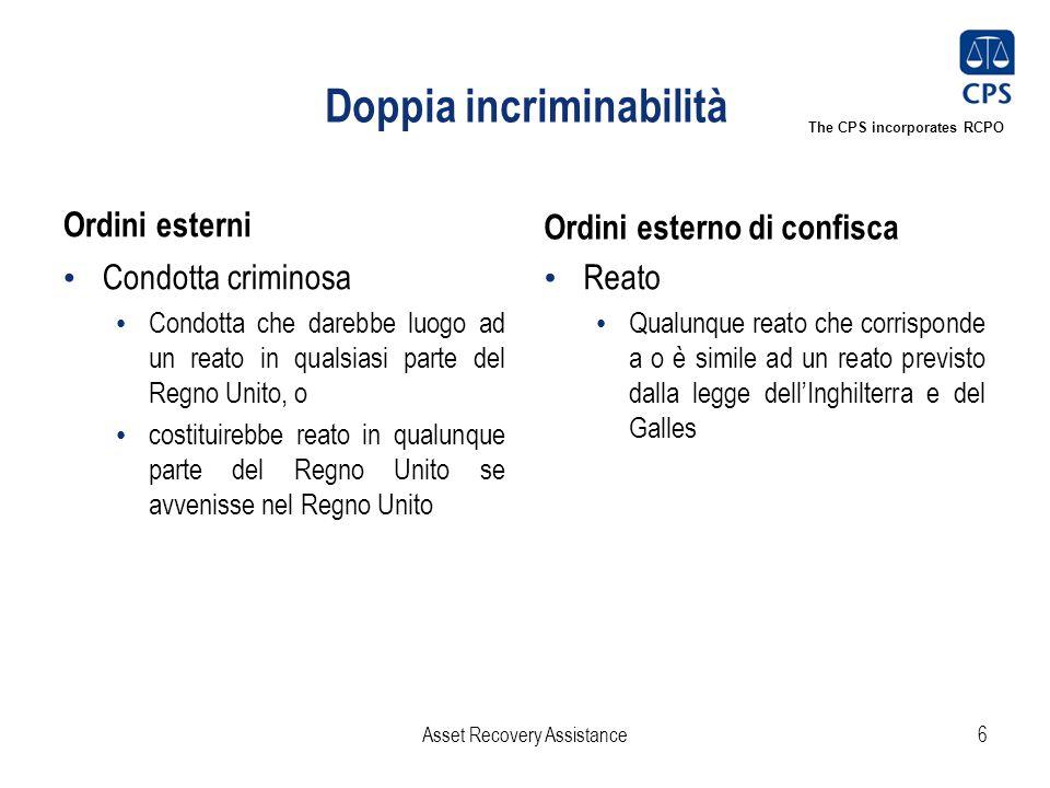 The CPS incorporates RCPO Doppia incriminabilità Ordini esterni Condotta criminosa Condotta che darebbe luogo ad un reato in qualsiasi parte del Regno