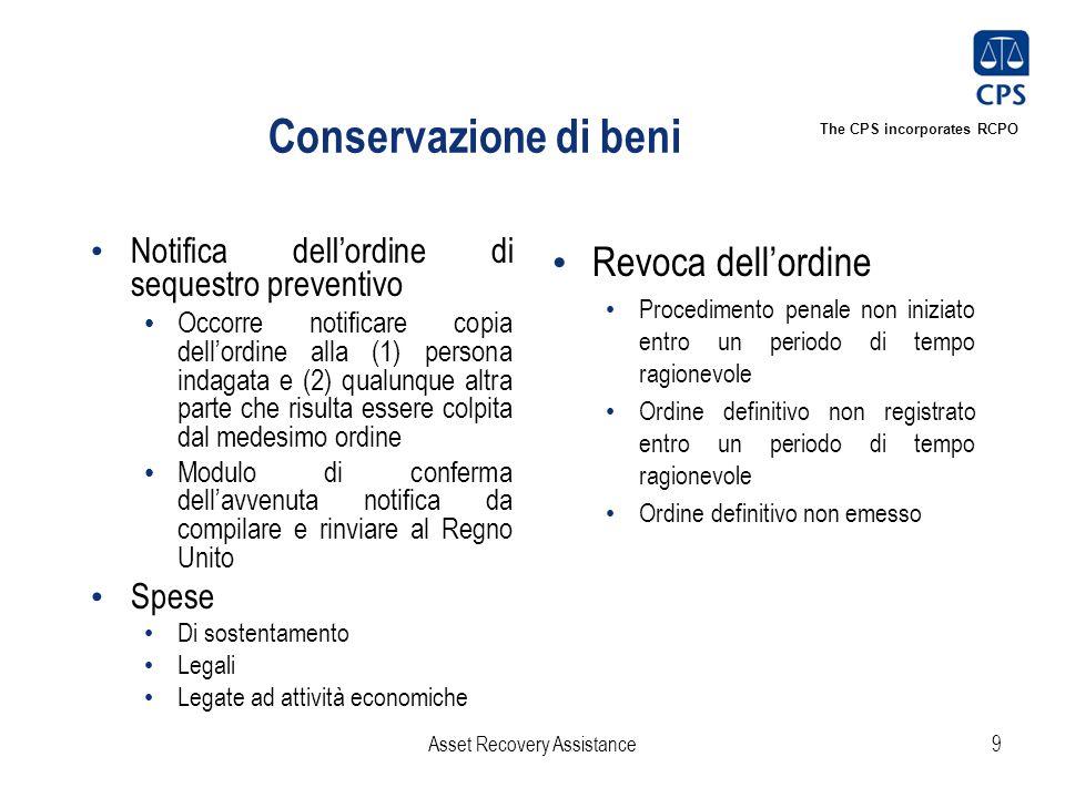 The CPS incorporates RCPO Conservazione di beni Notifica dell'ordine di sequestro preventivo Occorre notificare copia dell'ordine alla (1) persona ind