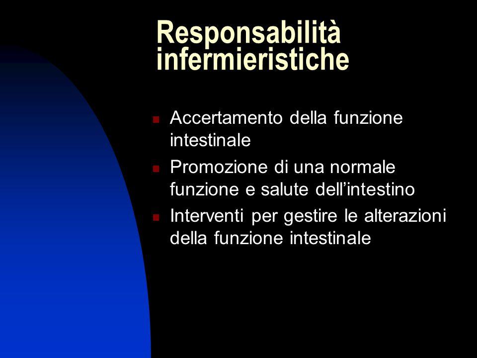 Responsabilità infermieristiche Accertamento della funzione intestinale Promozione di una normale funzione e salute dell'intestino Interventi per gest