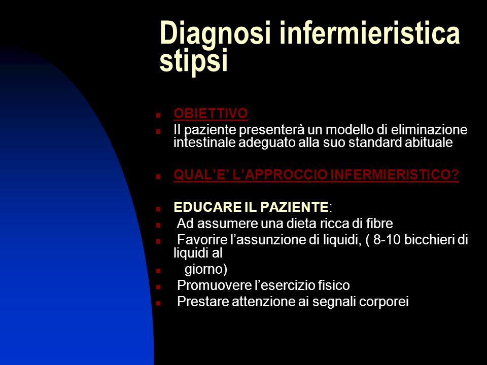 Diagnosi infermieristica stipsi OBIETTIVO Il paziente presenterà un modello di eliminazione intestinale adeguato alla suo standard abituale QUAL'E' L'