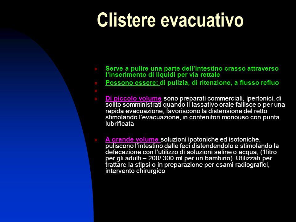 Clistere evacuativo Serve a pulire una parte dell'intestino crasso attraverso l'inserimento di liquidi per via rettale Possono essere: di pulizia, di