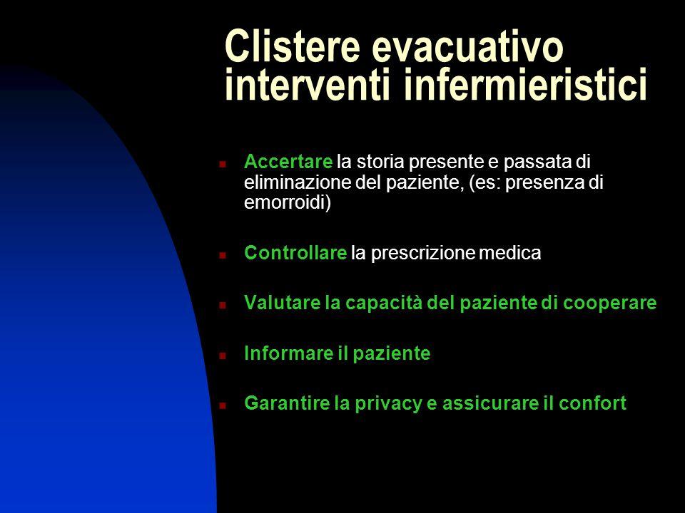 Clistere evacuativo interventi infermieristici Accertare la storia presente e passata di eliminazione del paziente, (es: presenza di emorroidi) Contro
