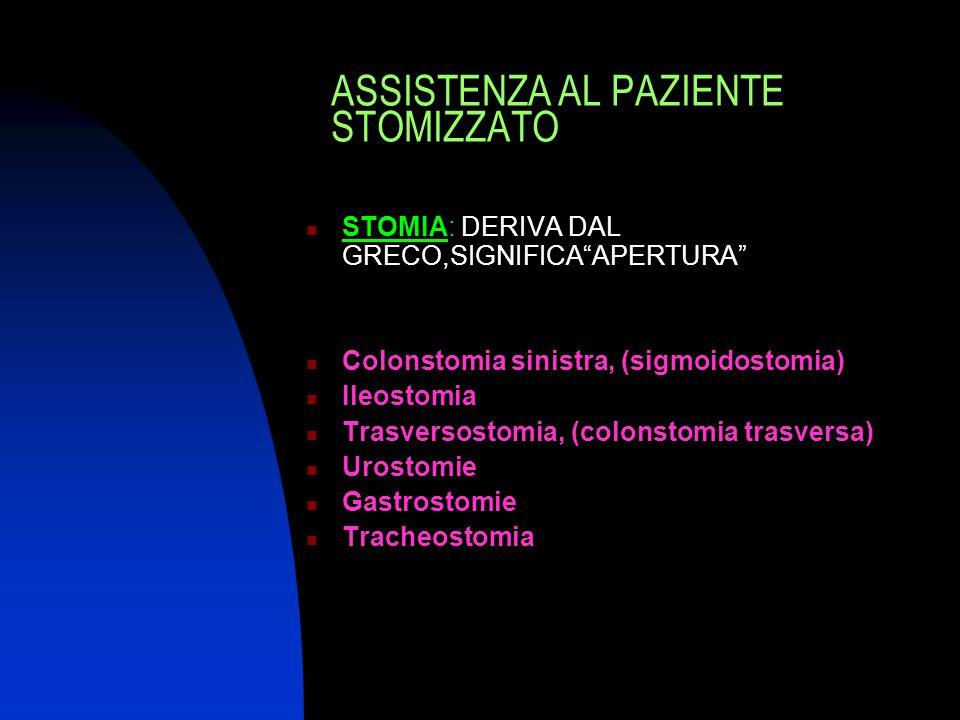 """ASSISTENZA AL PAZIENTE STOMIZZATO STOMIA: DERIVA DAL GRECO,SIGNIFICA""""APERTURA"""" Colonstomia sinistra, (sigmoidostomia) Ileostomia Trasversostomia, (col"""
