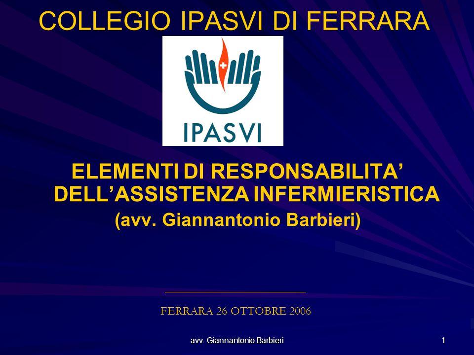 avv. Giannantonio Barbieri 1 COLLEGIO IPASVI DI FERRARA ELEMENTI DI RESPONSABILITA' DELL'ASSISTENZA INFERMIERISTICA (avv. Giannantonio Barbieri) _____