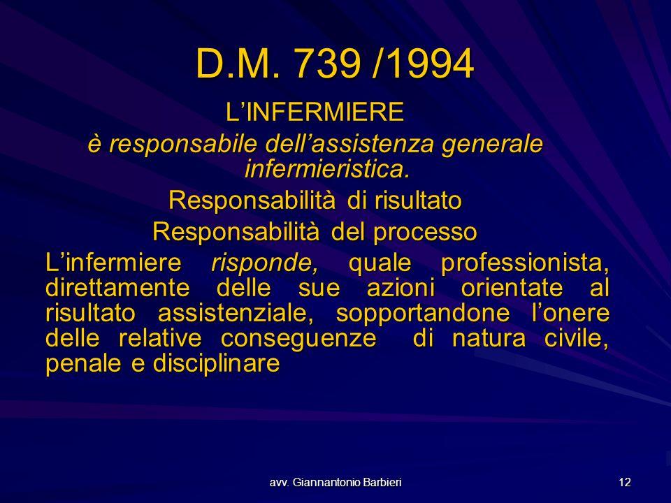 avv. Giannantonio Barbieri 12 D.M. 739 /1994 L'INFERMIERE è responsabile dell'assistenza generale infermieristica. Responsabilità di risultato Respons