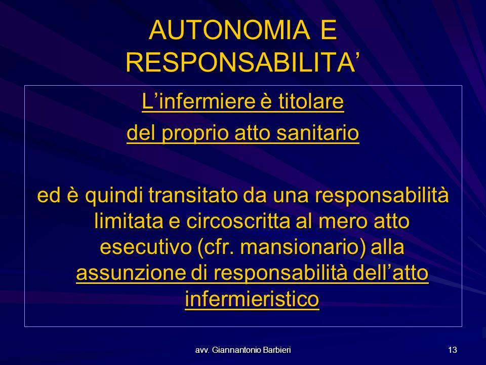 avv. Giannantonio Barbieri 13 AUTONOMIA E RESPONSABILITA' L'infermiere è titolare del proprio atto sanitario ed è quindi transitato da una responsabil