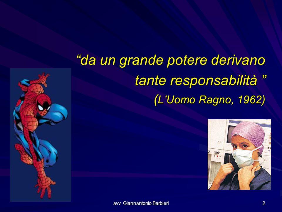 """avv. Giannantonio Barbieri 2 """"da un grande potere derivano tante responsabilità """" ( L'Uomo Ragno, 1962)"""