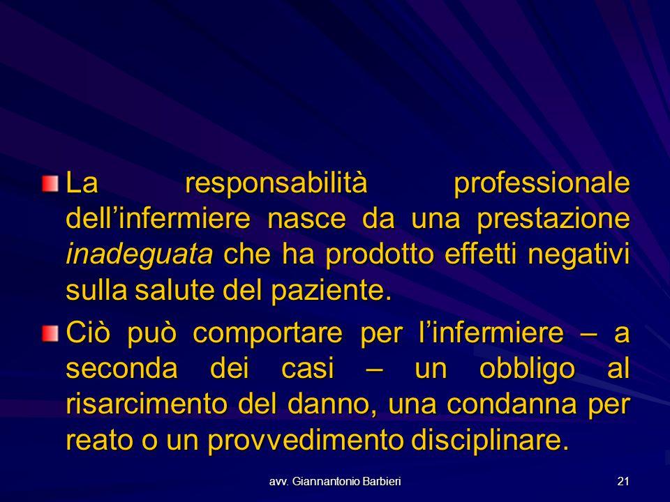 avv. Giannantonio Barbieri 21 La responsabilità professionale dell'infermiere nasce da una prestazione inadeguata che ha prodotto effetti negativi sul