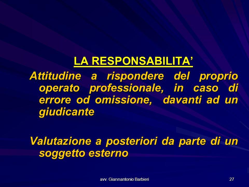 avv. Giannantonio Barbieri 27 LA RESPONSABILITA' Attitudine a rispondere del proprio operato professionale, in caso di errore od omissione, davanti ad