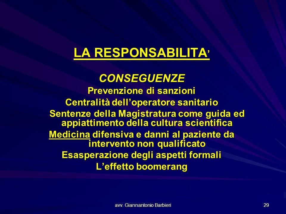 avv. Giannantonio Barbieri 29 LA RESPONSABILITA ' CONSEGUENZE Prevenzione di sanzioni Centralità dell'operatore sanitario Sentenze della Magistratura