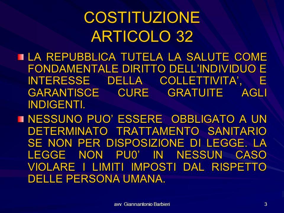 avv. Giannantonio Barbieri 3 COSTITUZIONE ARTICOLO 32 LA REPUBBLICA TUTELA LA SALUTE COME FONDAMENTALE DIRITTO DELL'INDIVIDUO E INTERESSE DELLA COLLET