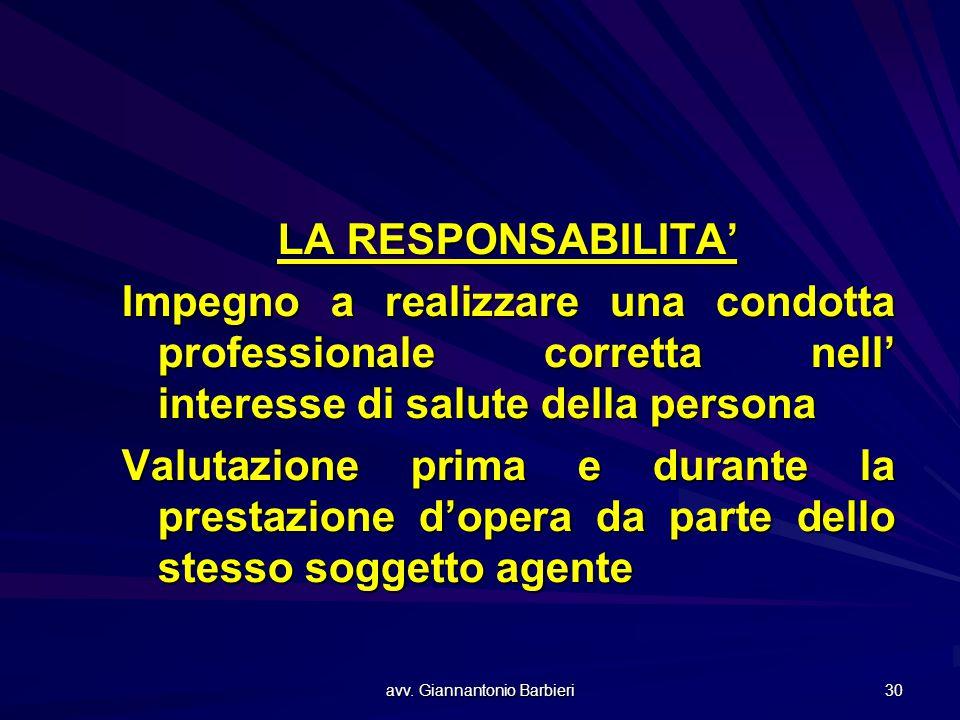 avv. Giannantonio Barbieri 30 LA RESPONSABILITA' Impegno a realizzare una condotta professionale corretta nell' interesse di salute della persona Valu