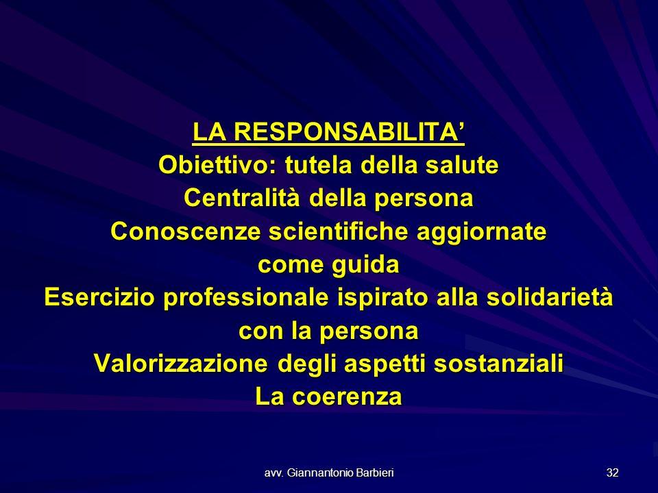 avv. Giannantonio Barbieri 32 LA RESPONSABILITA' Obiettivo: tutela della salute Centralità della persona Conoscenze scientifiche aggiornate come guida