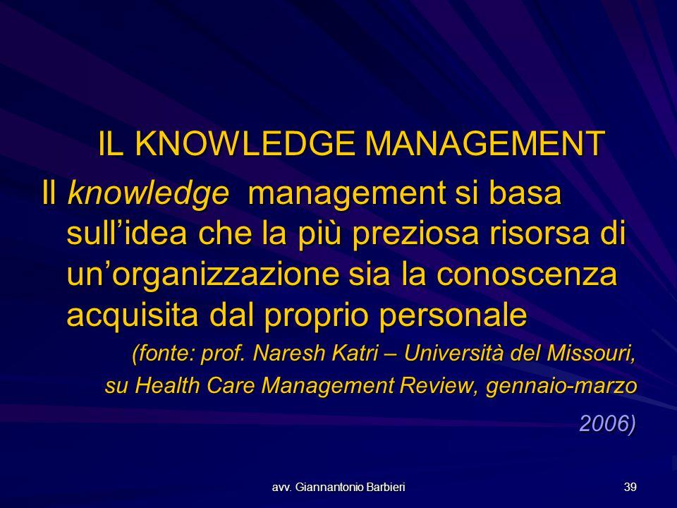 avv. Giannantonio Barbieri 39 IL KNOWLEDGE MANAGEMENT Il knowledge management si basa sull'idea che la più preziosa risorsa di un'organizzazione sia l