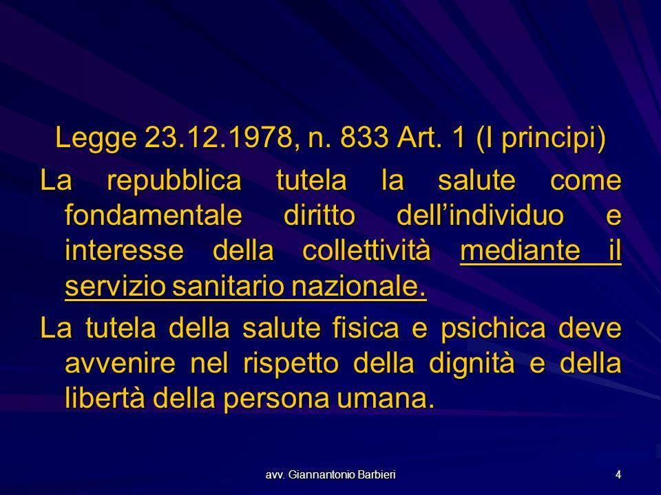 avv. Giannantonio Barbieri 4 Legge 23.12.1978, n. 833 Art. 1 (I principi) La repubblica tutela la salute come fondamentale diritto dell'individuo e in