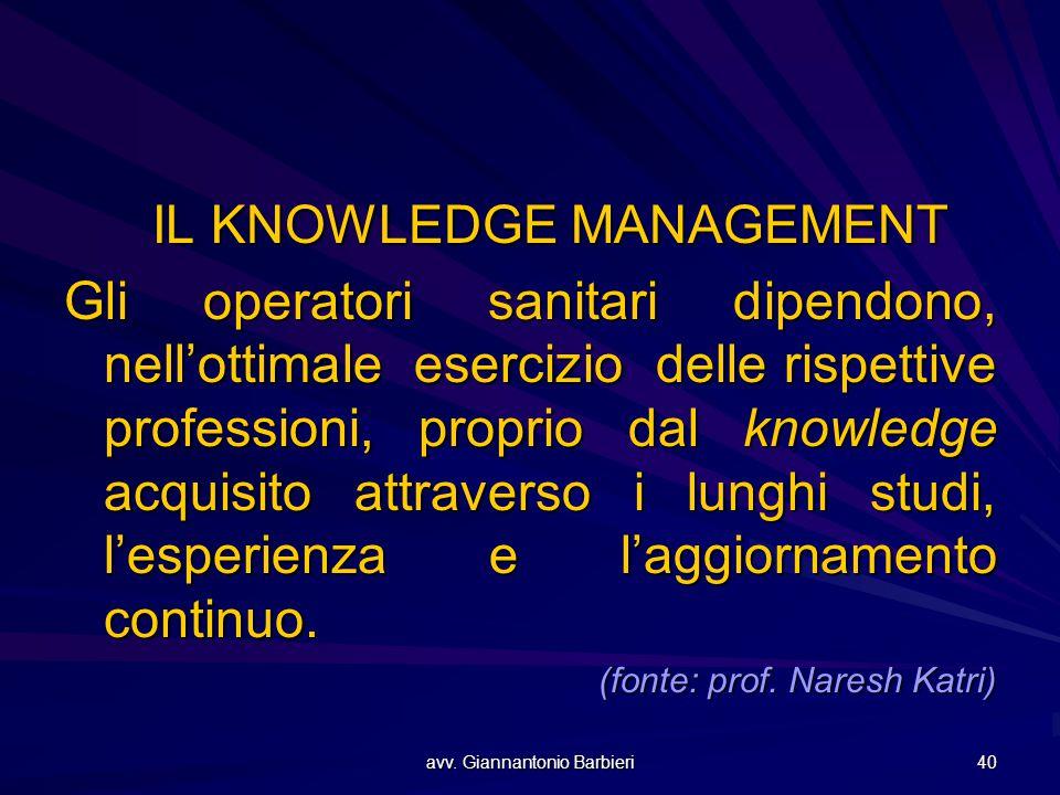 avv. Giannantonio Barbieri 40 IL KNOWLEDGE MANAGEMENT Gli operatori sanitari dipendono, nell'ottimale esercizio delle rispettive professioni, proprio