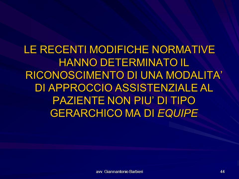avv. Giannantonio Barbieri 44 LE RECENTI MODIFICHE NORMATIVE HANNO DETERMINATO IL RICONOSCIMENTO DI UNA MODALITA' DI APPROCCIO ASSISTENZIALE AL PAZIEN