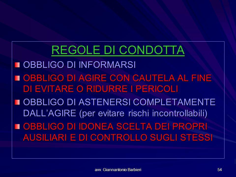avv. Giannantonio Barbieri 54 REGOLE DI CONDOTTA OBBLIGO DI INFORMARSI OBBLIGO DI AGIRE CON CAUTELA AL FINE DI EVITARE O RIDURRE I PERICOLI OBBLIGO DI