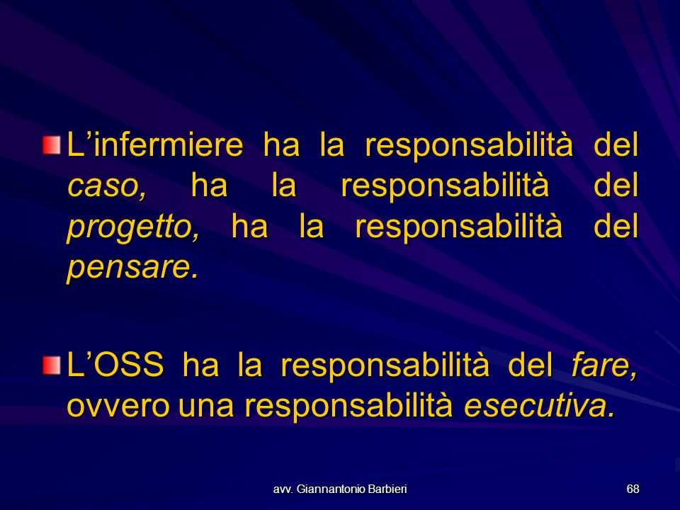 avv. Giannantonio Barbieri 68 L'infermiere ha la responsabilità del caso, ha la responsabilità del progetto, ha la responsabilità del pensare. L'OSS h