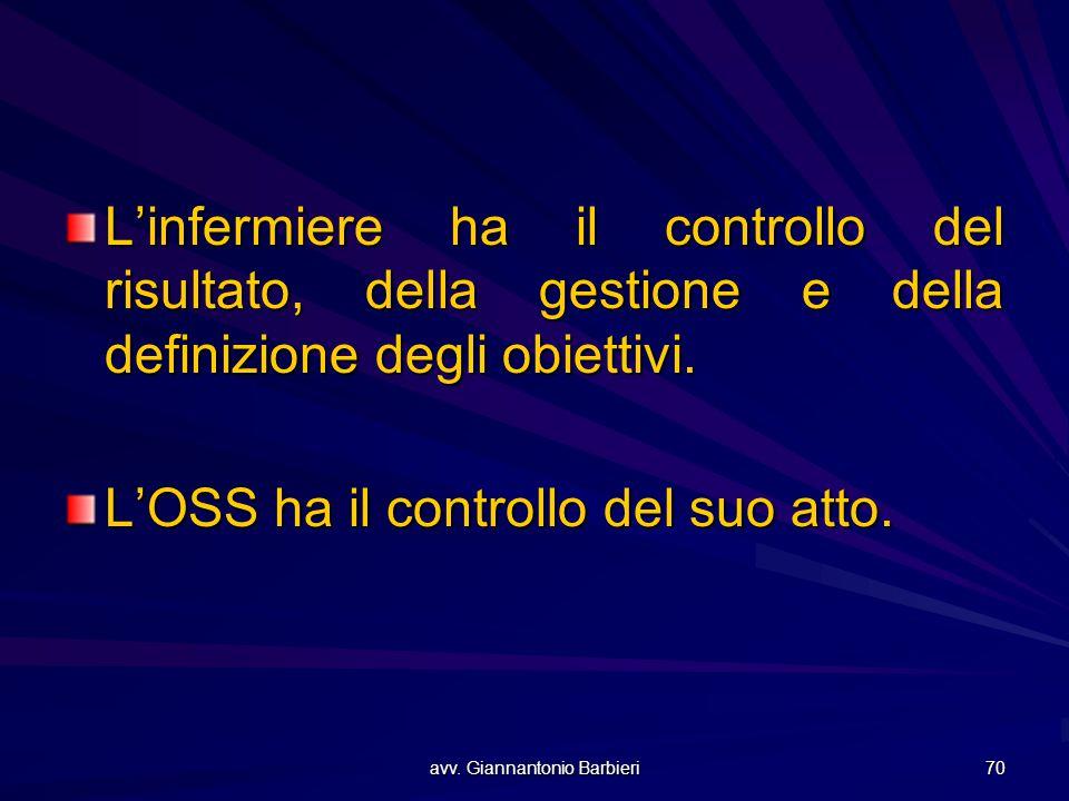 avv. Giannantonio Barbieri 70 L'infermiere ha il controllo del risultato, della gestione e della definizione degli obiettivi. L'OSS ha il controllo de