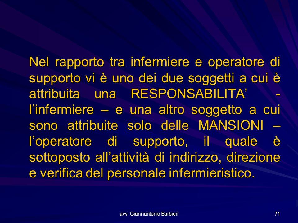 avv. Giannantonio Barbieri 71 Nel rapporto tra infermiere e operatore di supporto vi è uno dei due soggetti a cui è attribuita una RESPONSABILITA' - l
