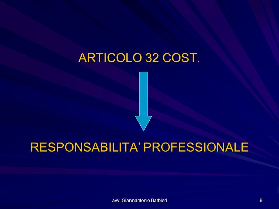avv. Giannantonio Barbieri 8 ARTICOLO 32 COST. RESPONSABILITA' PROFESSIONALE