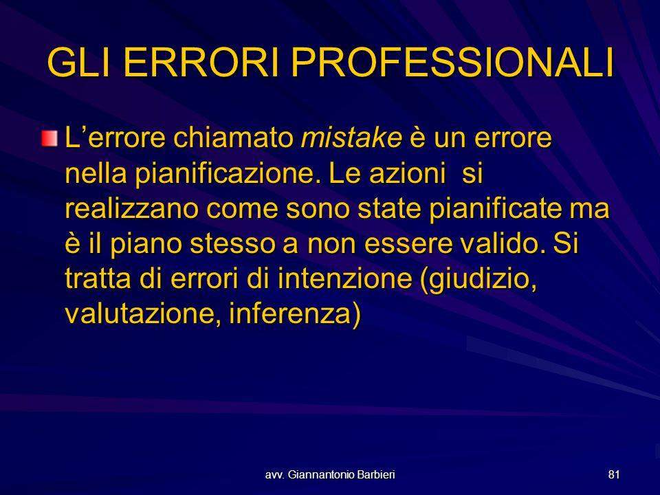 avv. Giannantonio Barbieri 81 GLI ERRORI PROFESSIONALI L'errore chiamato mistake è un errore nella pianificazione. Le azioni si realizzano come sono s