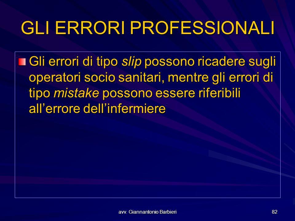 avv. Giannantonio Barbieri 82 GLI ERRORI PROFESSIONALI Gli errori di tipo slip possono ricadere sugli operatori socio sanitari, mentre gli errori di t