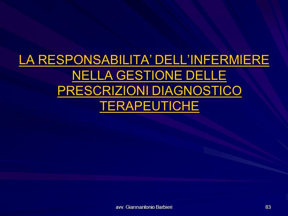 avv. Giannantonio Barbieri 83 LA RESPONSABILITA' DELL'INFERMIERE NELLA GESTIONE DELLE PRESCRIZIONI DIAGNOSTICO TERAPEUTICHE