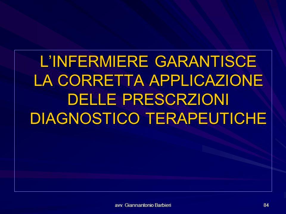 avv. Giannantonio Barbieri 84 L'INFERMIERE GARANTISCE LA CORRETTA APPLICAZIONE DELLE PRESCRZIONI DIAGNOSTICO TERAPEUTICHE