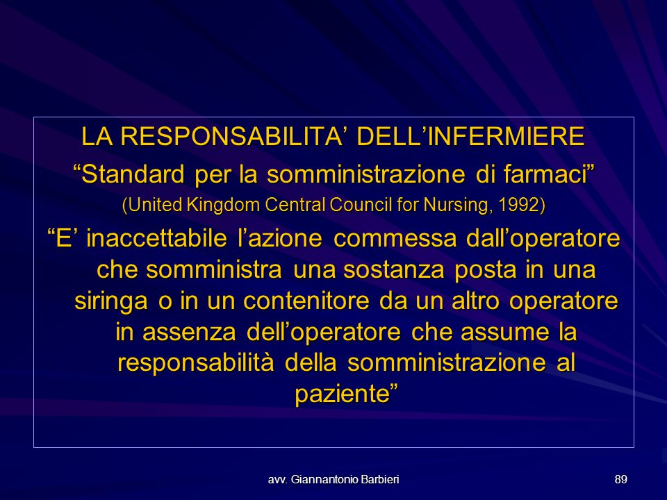 "avv. Giannantonio Barbieri 89 LA RESPONSABILITA' DELL'INFERMIERE ""Standard per la somministrazione di farmaci"" (United Kingdom Central Council for Nur"
