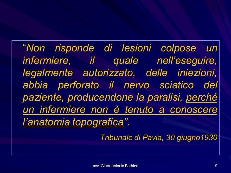 """avv. Giannantonio Barbieri 9 """"Non risponde di lesioni colpose un infermiere, il quale nell'eseguire, legalmente autorizzato, delle iniezioni, abbia pe"""